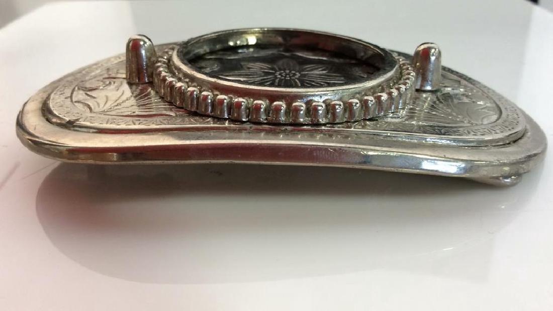 Silver Toned Metal Belt Buckle W Floral Design - 4