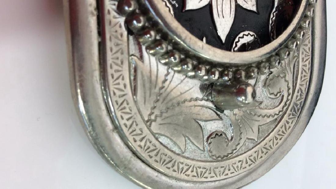 Silver Toned Metal Belt Buckle W Floral Design - 5