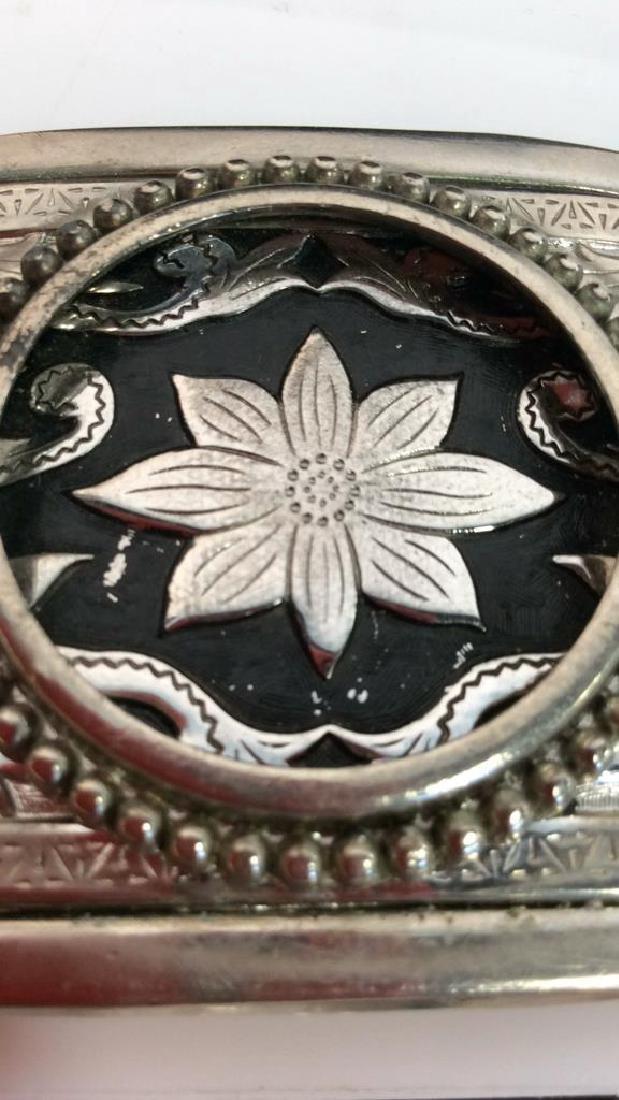 Silver Toned Metal Belt Buckle W Floral Design - 6