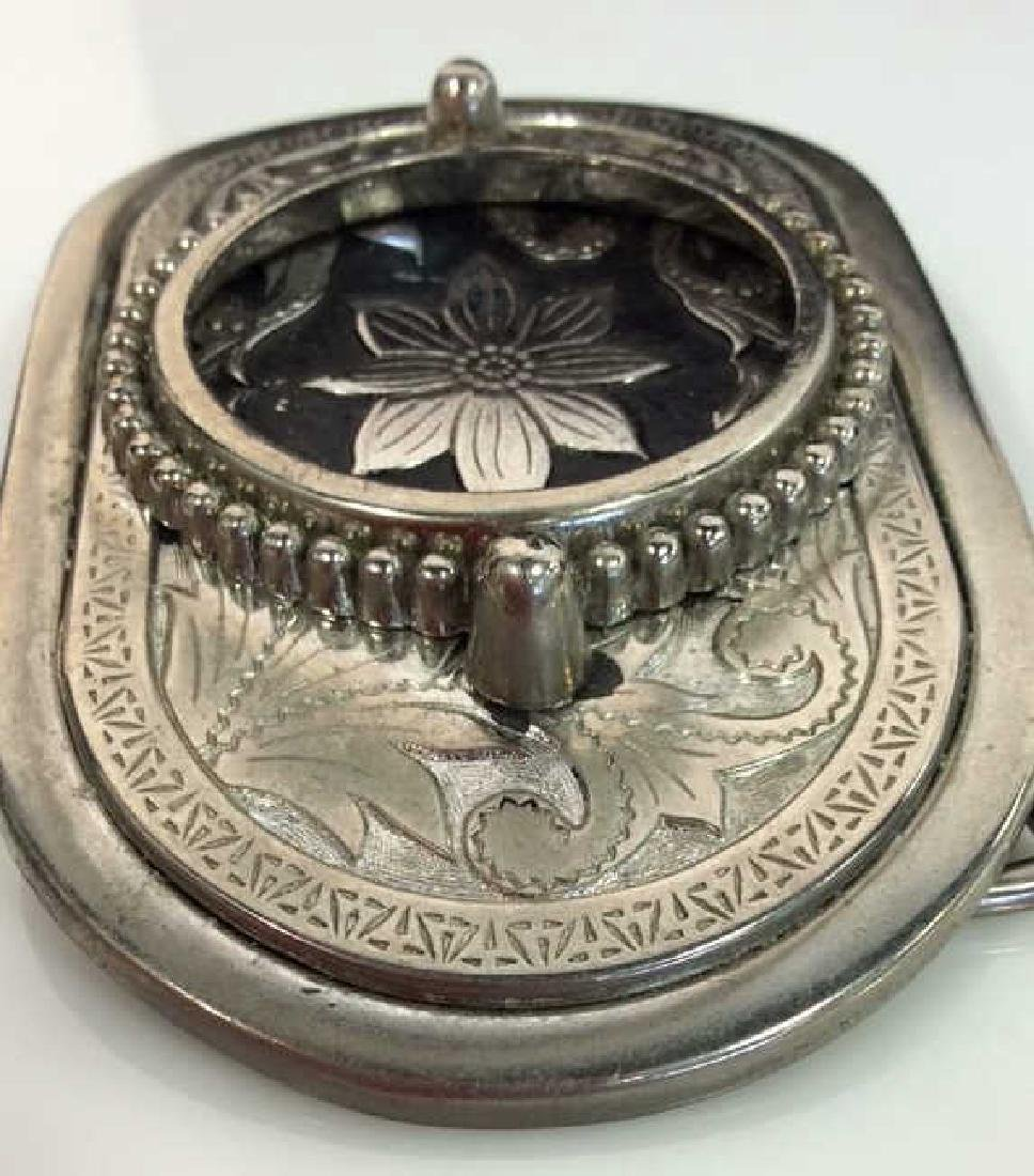 Silver Toned Metal Belt Buckle W Floral Design - 7