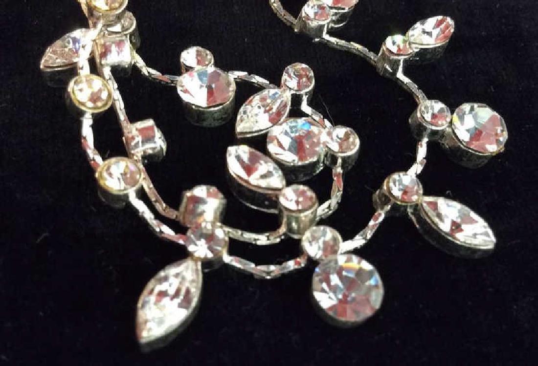 Silver Toned Metal Necklace W Rhinestones