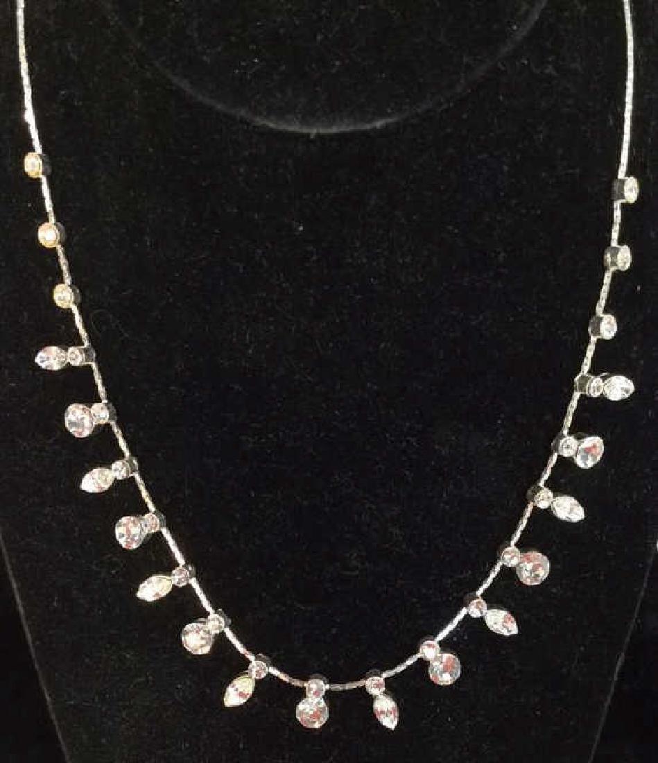Silver Toned Metal Necklace W Rhinestones - 2