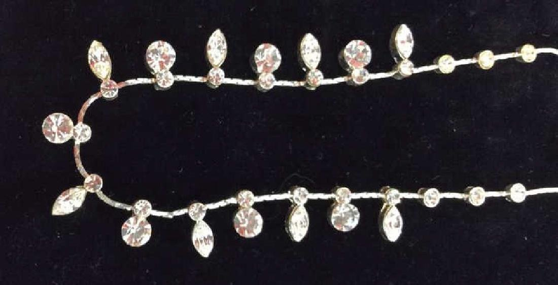 Silver Toned Metal Necklace W Rhinestones - 3