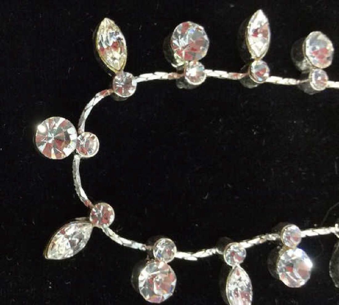 Silver Toned Metal Necklace W Rhinestones - 4
