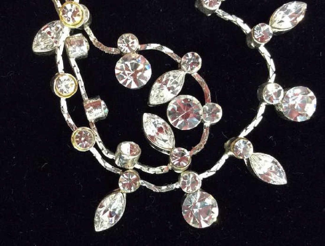Silver Toned Metal Necklace W Rhinestones - 5