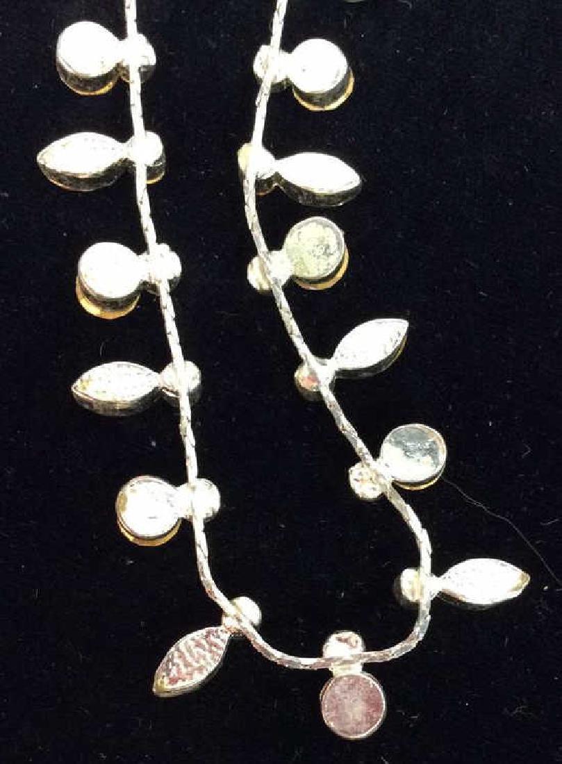 Silver Toned Metal Necklace W Rhinestones - 6
