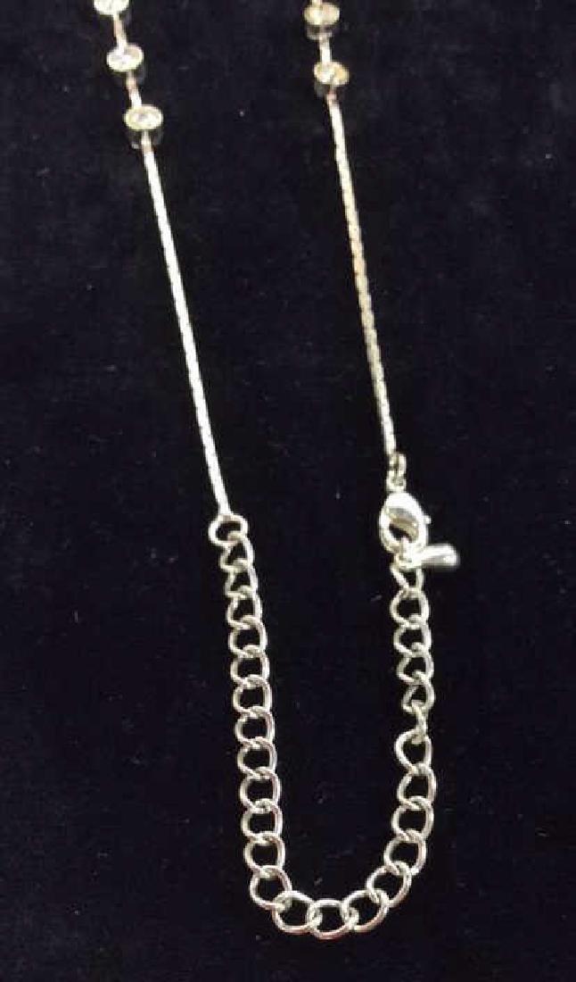 Silver Toned Metal Necklace W Rhinestones - 7