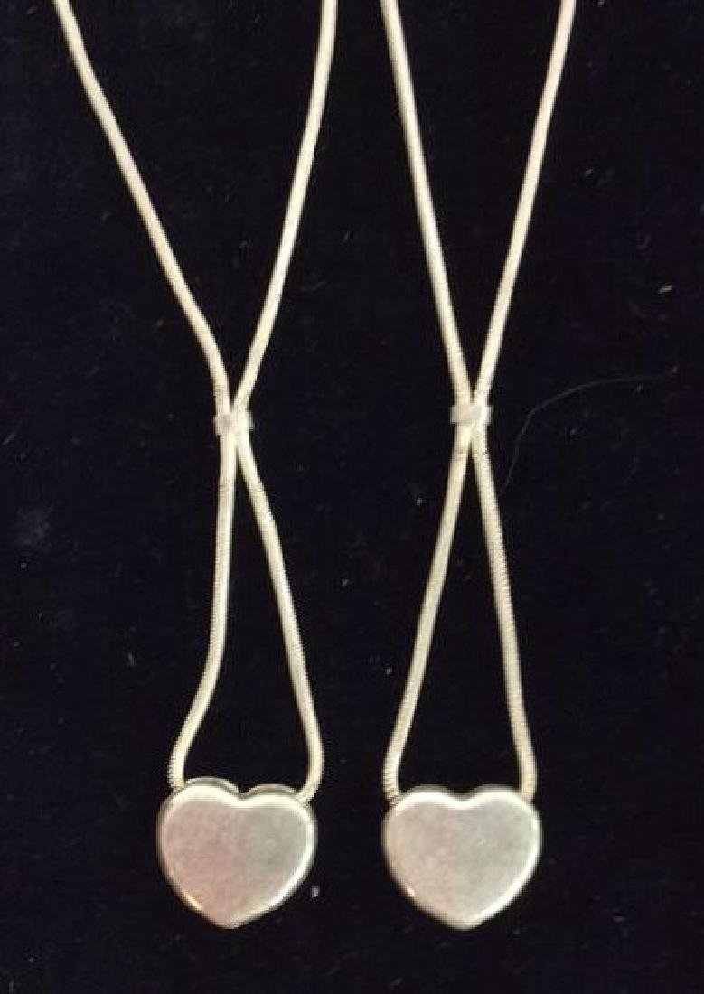 Pair Sterling Silver Chains W Heart Pendants