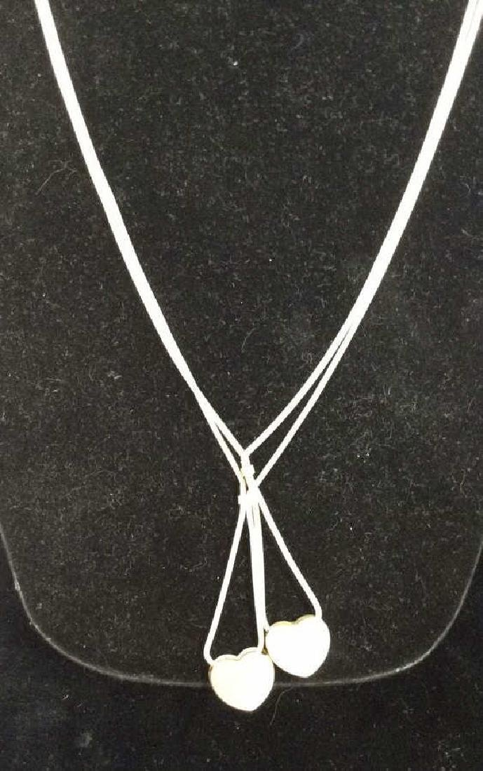 Pair Sterling Silver Chains W Heart Pendants - 3