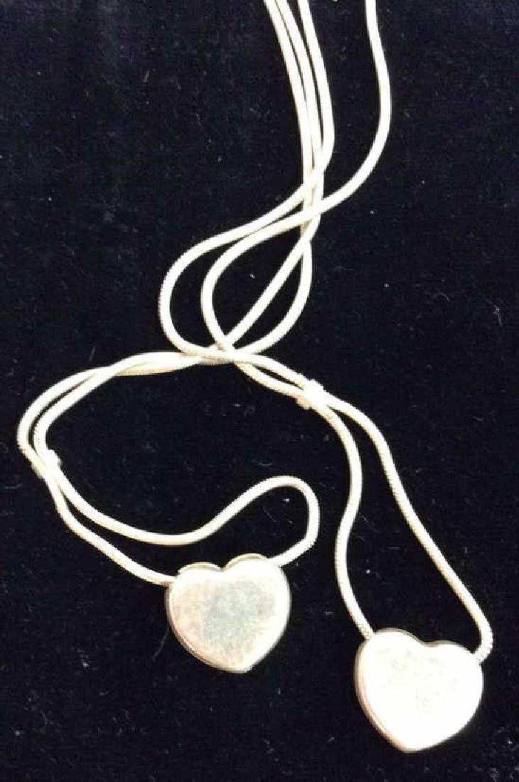 Pair Sterling Silver Chains W Heart Pendants - 4