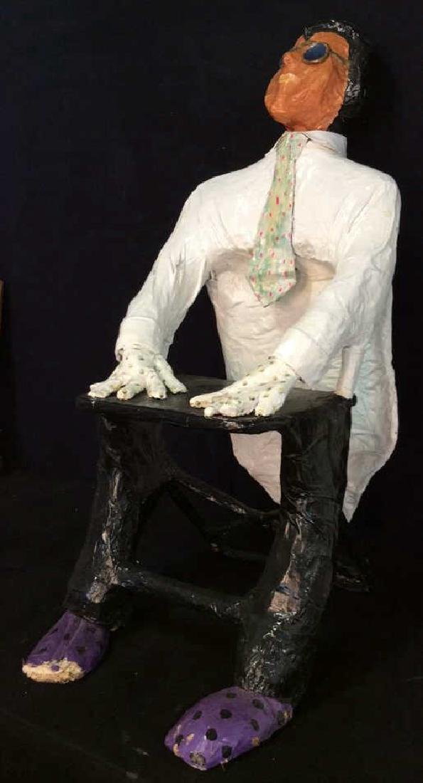 Whimsical Paper Mache Art Sculpture, 1992 Signed