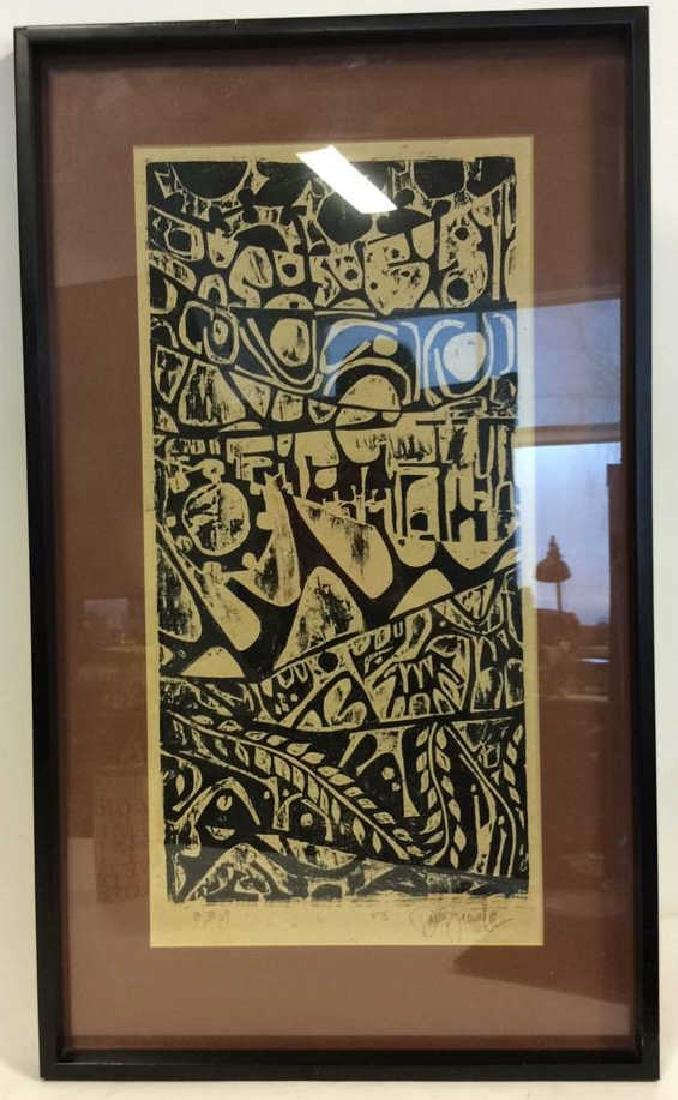 Mid Century Modern Woodblock Print c1969 - 2