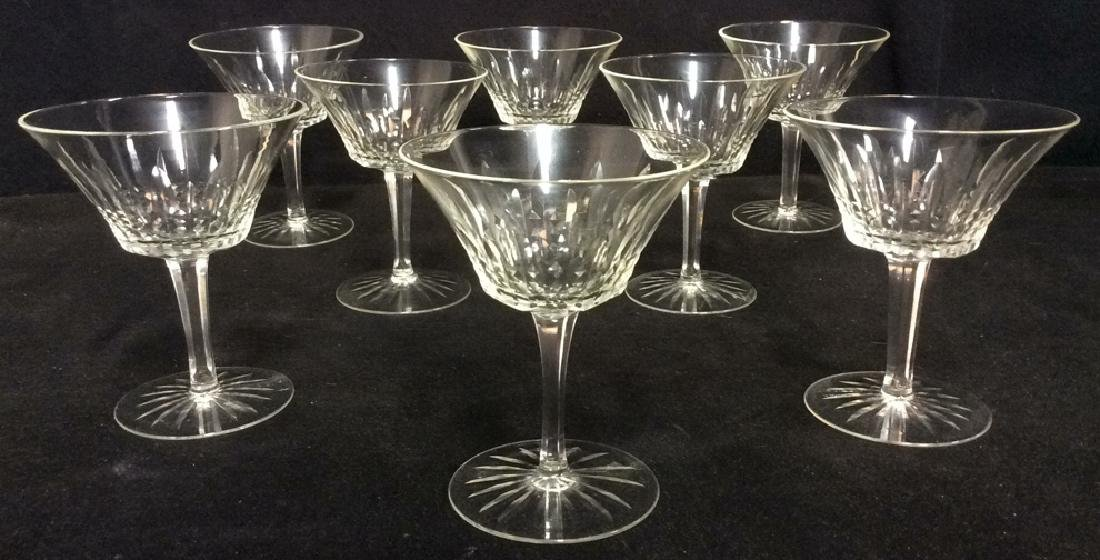 Lot 8 Cut Crystal Coupe Style Champagne Glasses