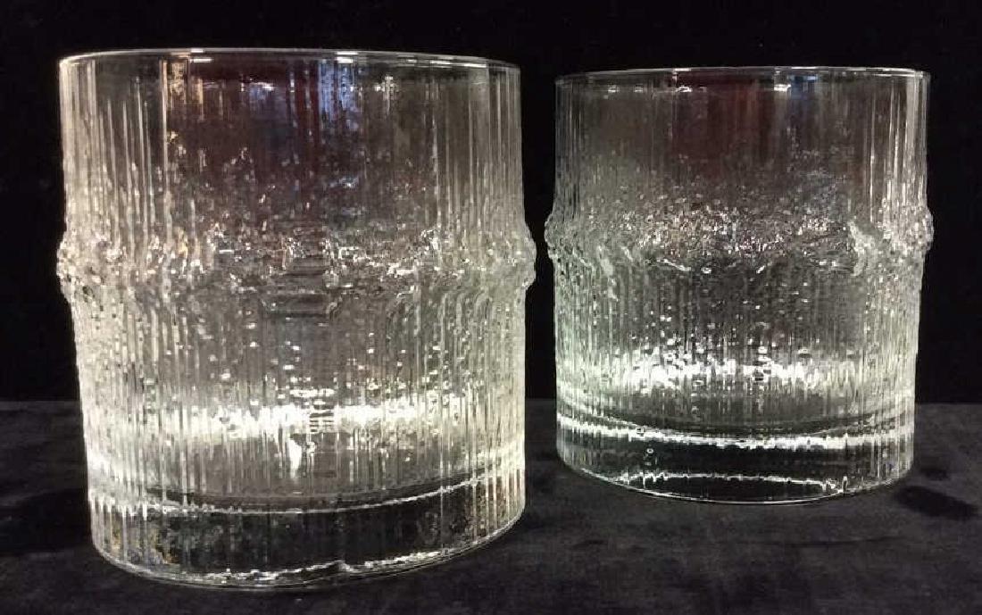Pair Vintage Brutalist Crystal Glasses Finland