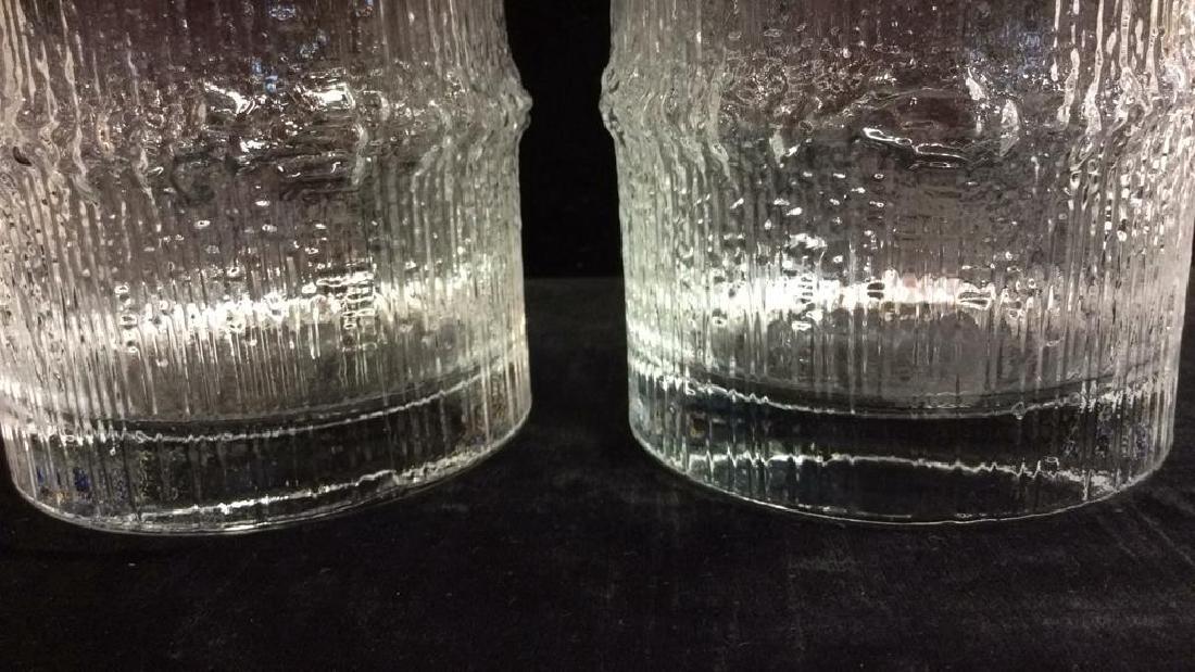 Pair Vintage Brutalist Crystal Glasses Finland - 6