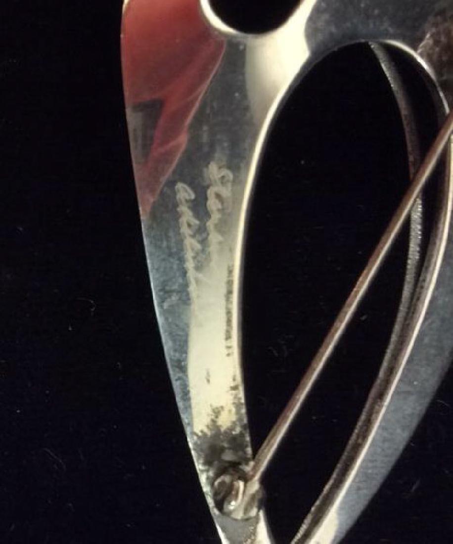 Mid Century Signed Sterling Sculptural Brooch Pin - 7