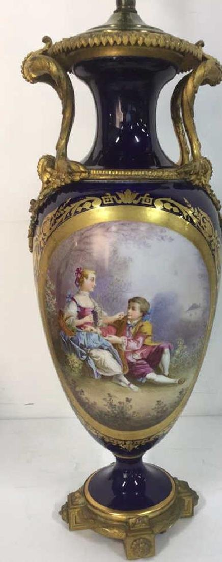 Sevres Porcelain Gilt Bronze Pictoral Table Lamp