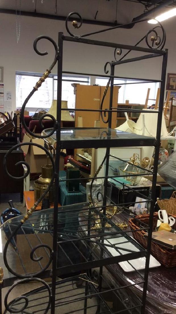 4 Shelf Metal, Glass & Brass Bakers Rack - 10