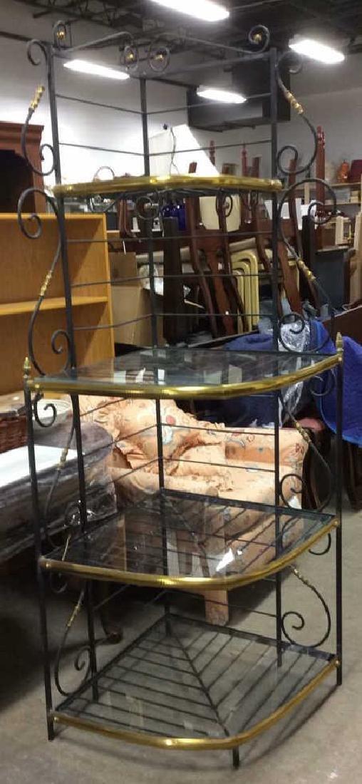 4 Shelf Metal, Glass & Brass Bakers Rack