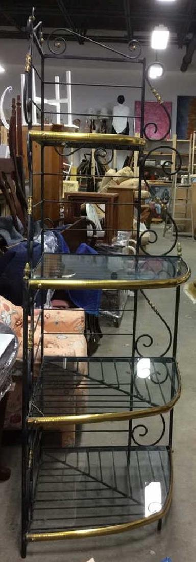 4 Shelf Metal, Glass & Brass Bakers Rack - 2