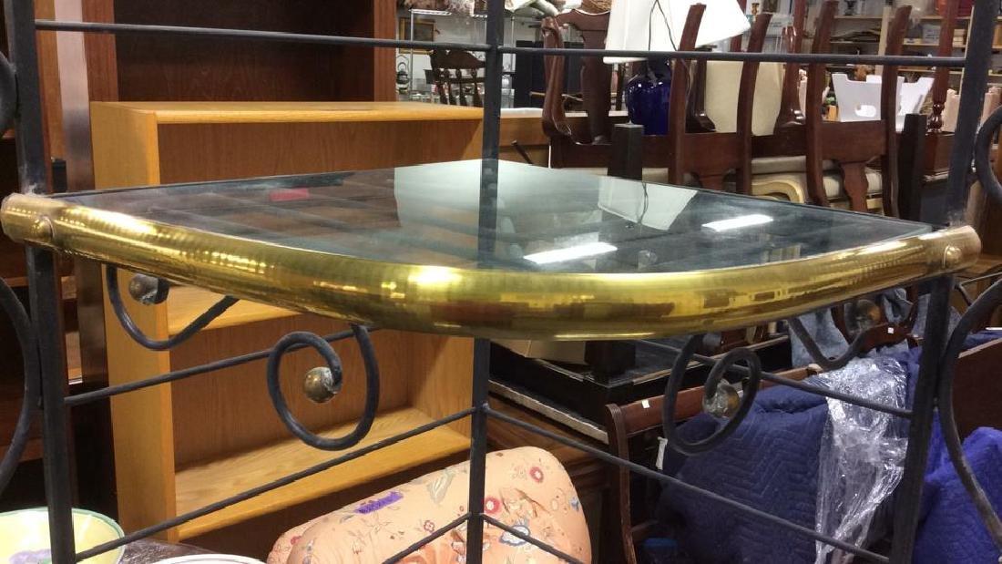 4 Shelf Metal, Glass & Brass Bakers Rack - 5