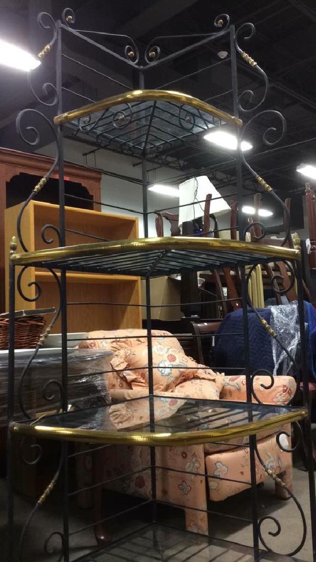 4 Shelf Metal, Glass & Brass Bakers Rack - 7