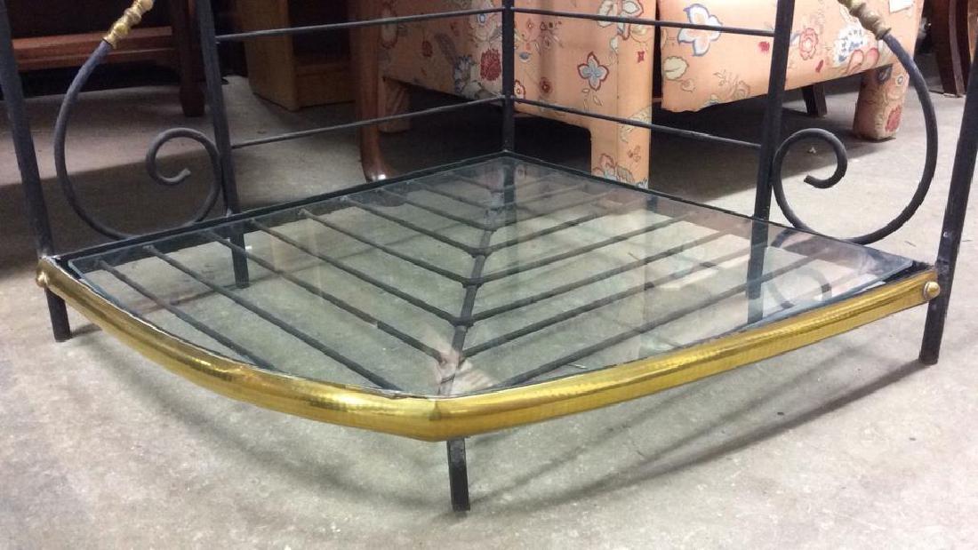 4 Shelf Metal, Glass & Brass Bakers Rack - 9