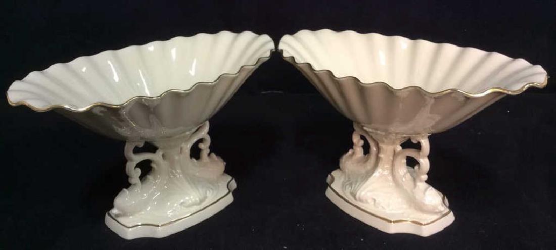 Pair LENOX Porcelain Footed Pedestal Serveware
