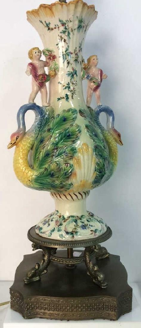 Majolica Hand Crafted and painted Porcelain Lamp