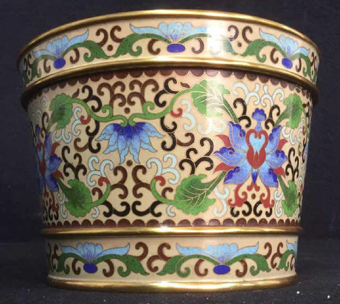 Chinoiserie Enameled Vase W Gold Toned Accents