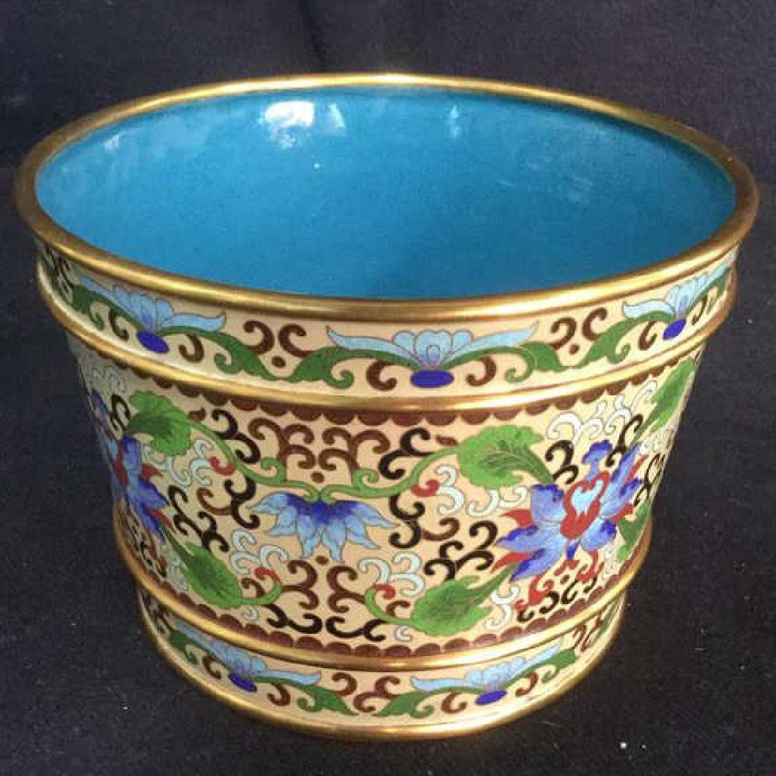 Chinoiserie Enameled Vase W Gold Toned Accents - 2