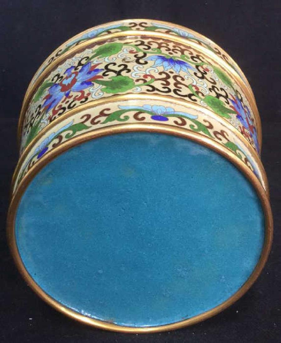 Chinoiserie Enameled Vase W Gold Toned Accents - 5