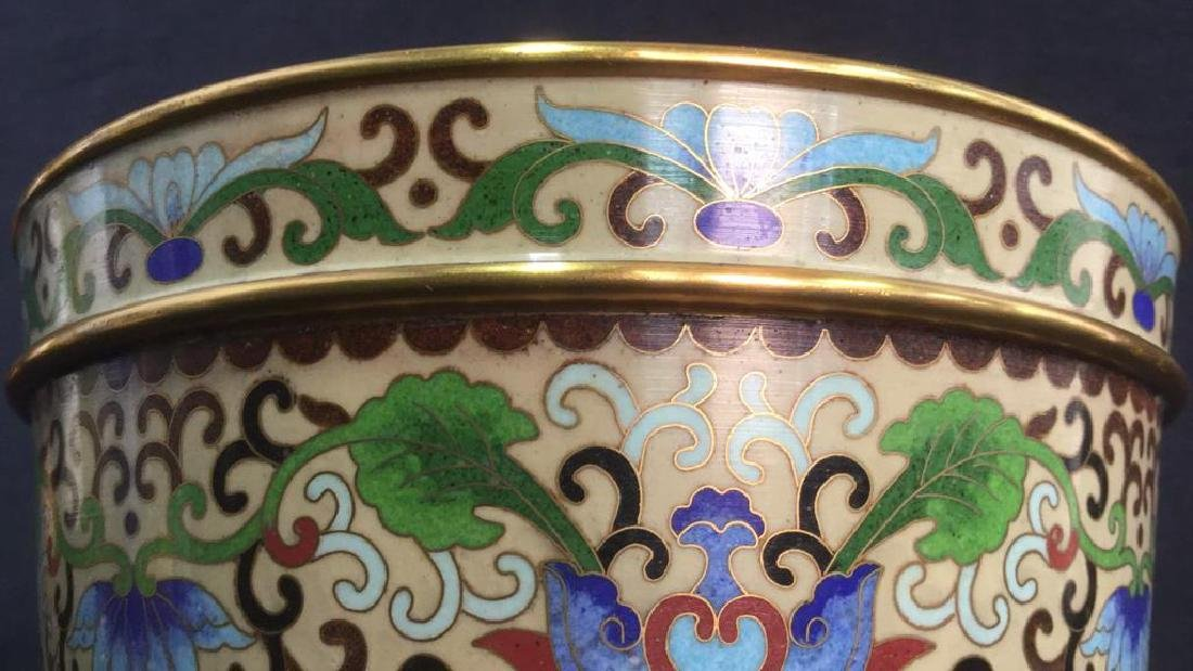 Chinoiserie Enameled Vase W Gold Toned Accents - 6