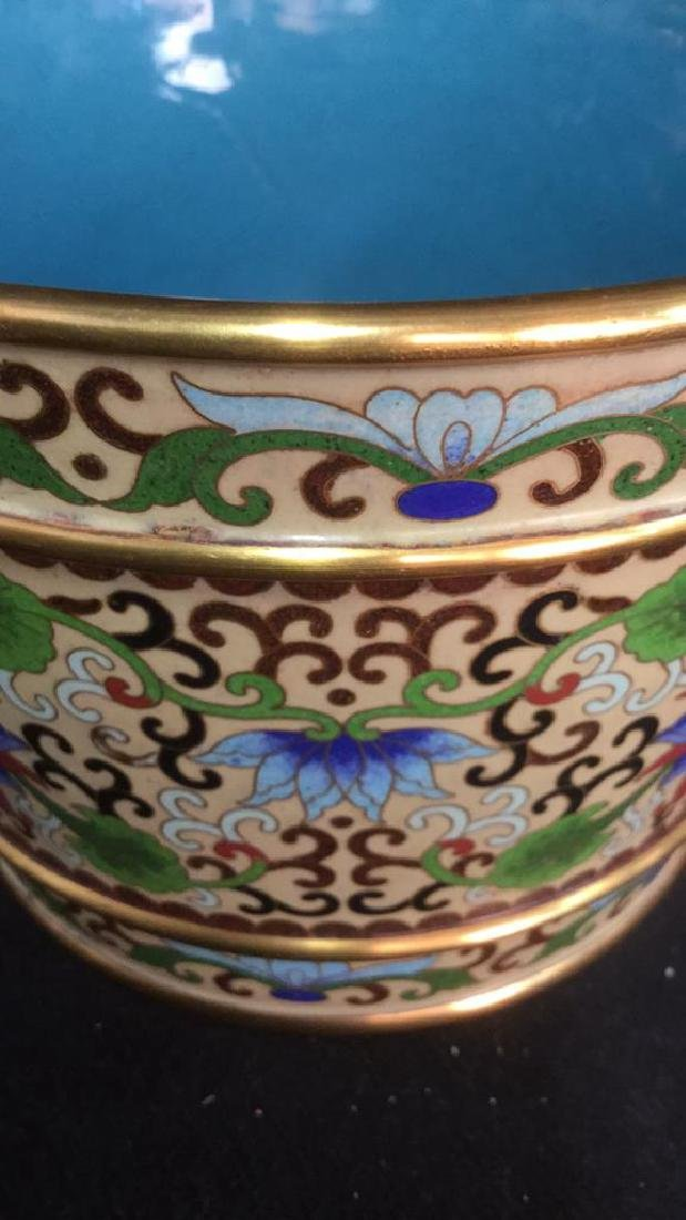 Chinoiserie Enameled Vase W Gold Toned Accents - 7