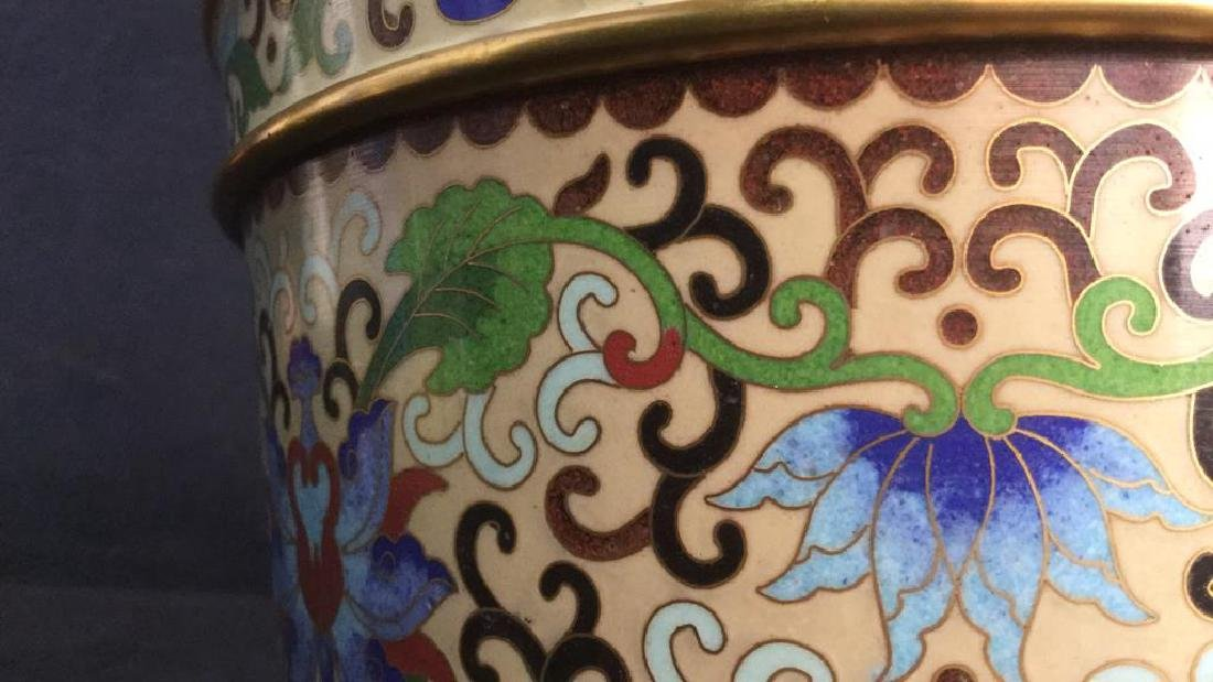 Chinoiserie Enameled Vase W Gold Toned Accents - 9