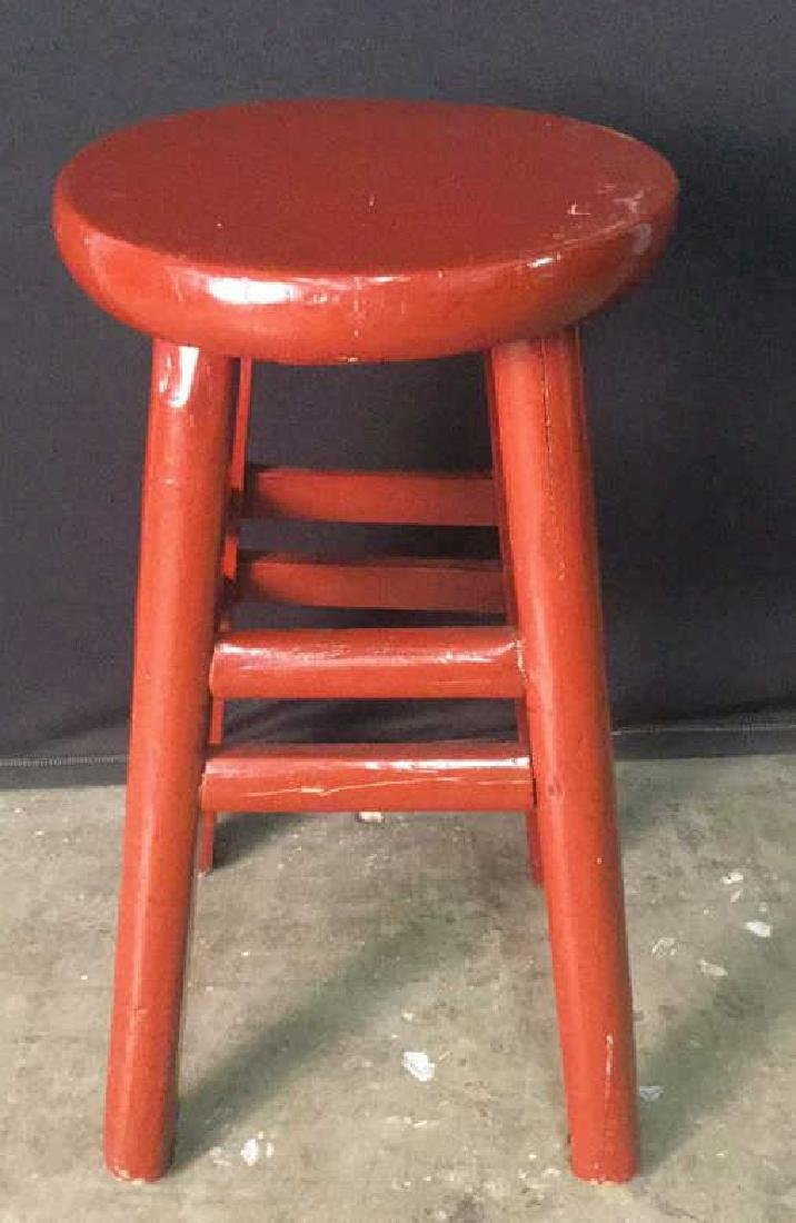 Red Lacquer Chinese Stool - 2