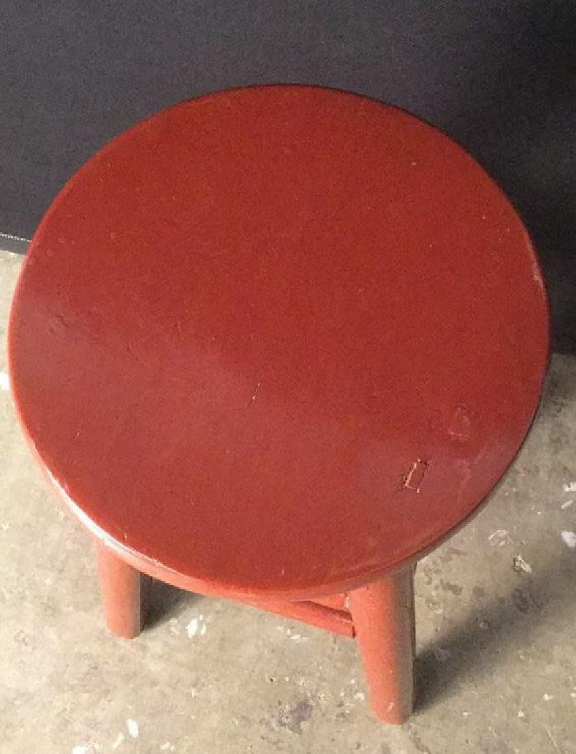 Red Lacquer Chinese Stool - 3