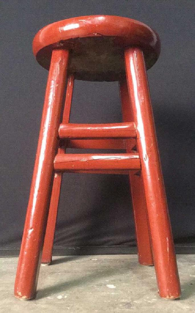 Red Lacquer Chinese Stool - 4