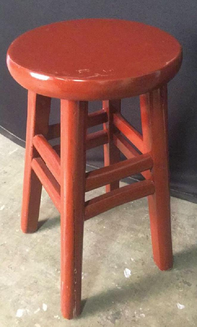 Red Lacquer Chinese Stool - 6