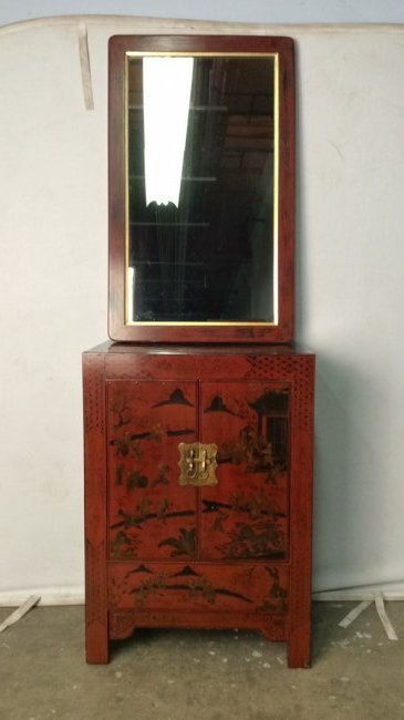 Antique Set Chinese Red Lacquered Chest And Mirror
