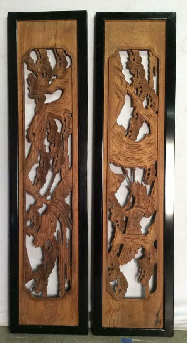 2 Carved Japanese Rammas Circa 1880-1900