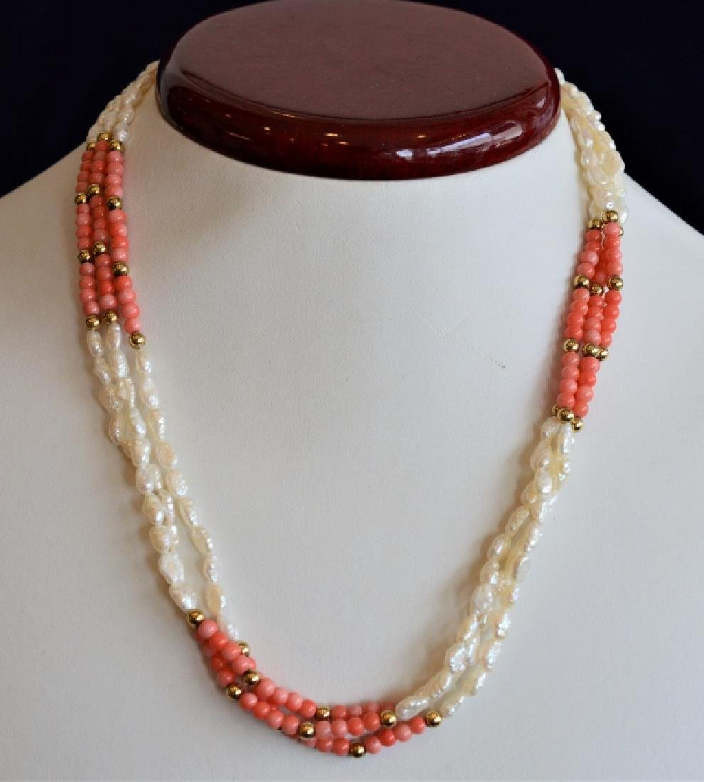 Triple Strand Pearl, Coral & 14k Gold Necklace