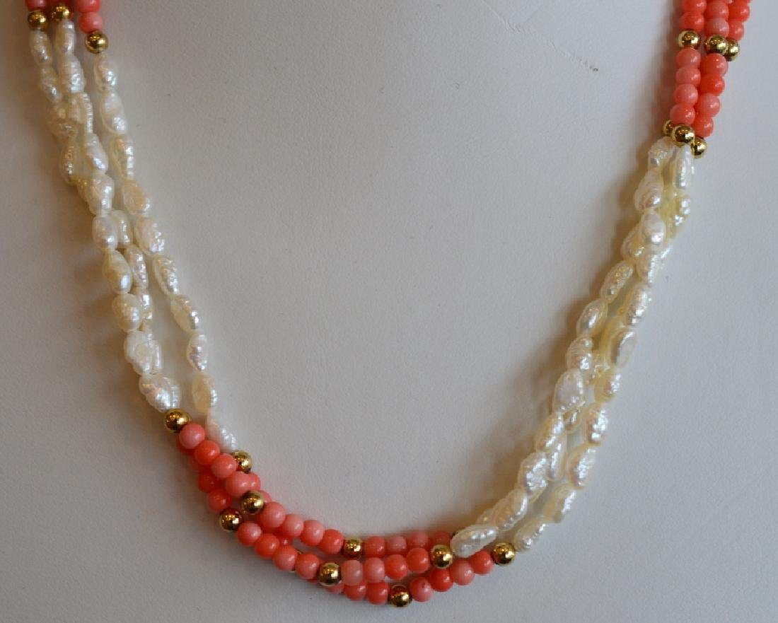 Triple Strand Pearl, Coral & 14k Gold Necklace - 2