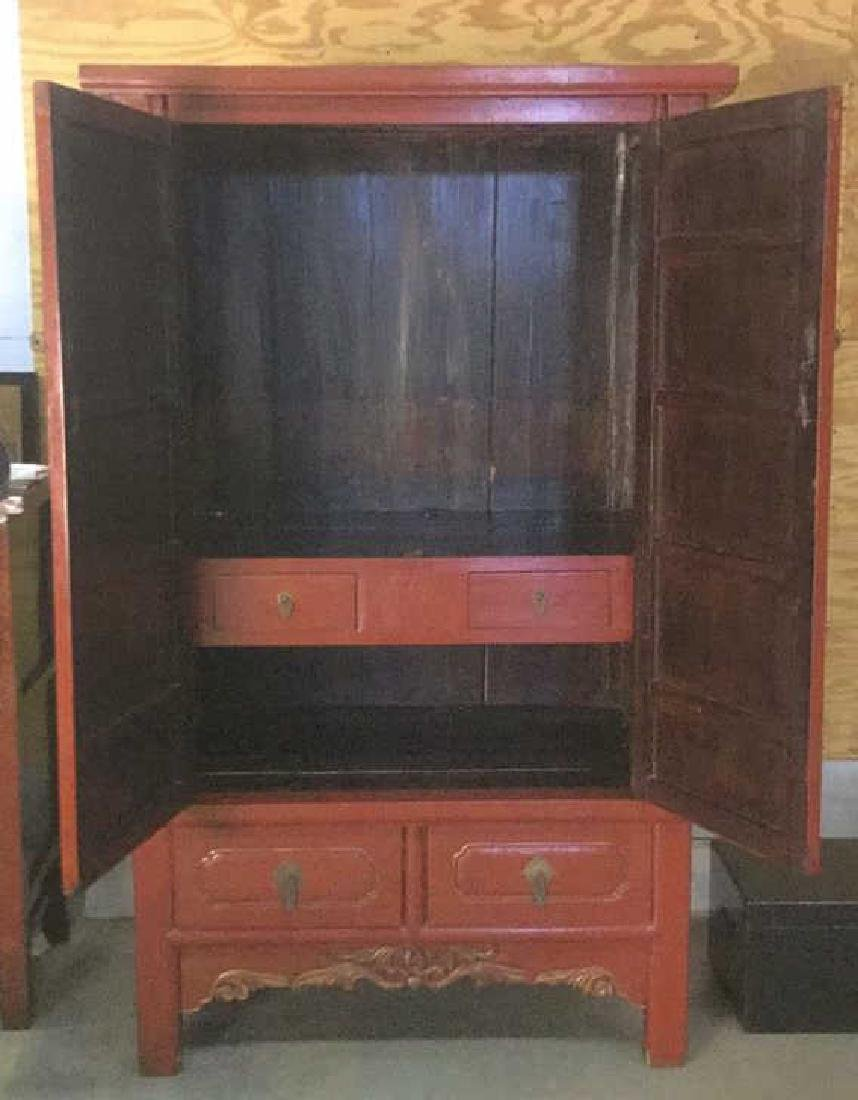 19th Century Chinese Red Lacquer Wedding Chest - 3