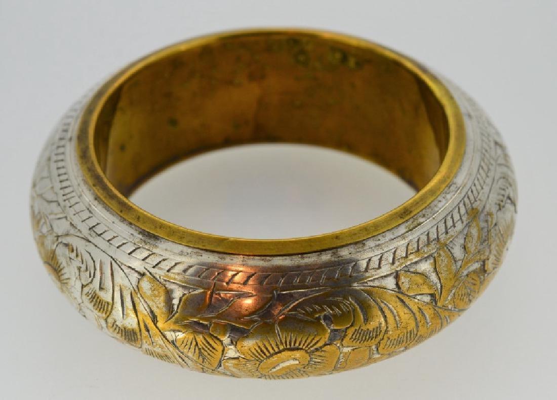 Vintage Silver-plated Brass Bangle Bracelet