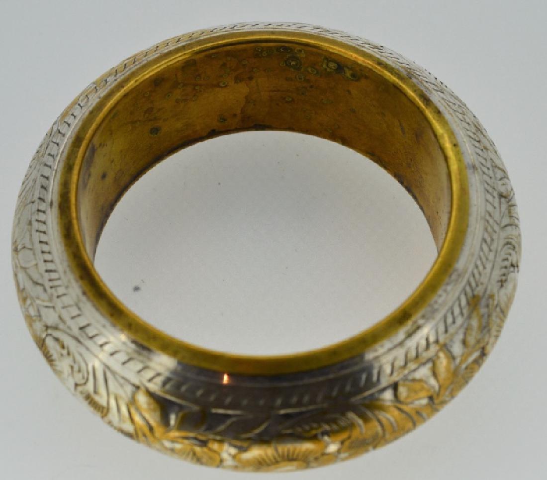 Vintage Silver-plated Brass Bangle Bracelet - 2