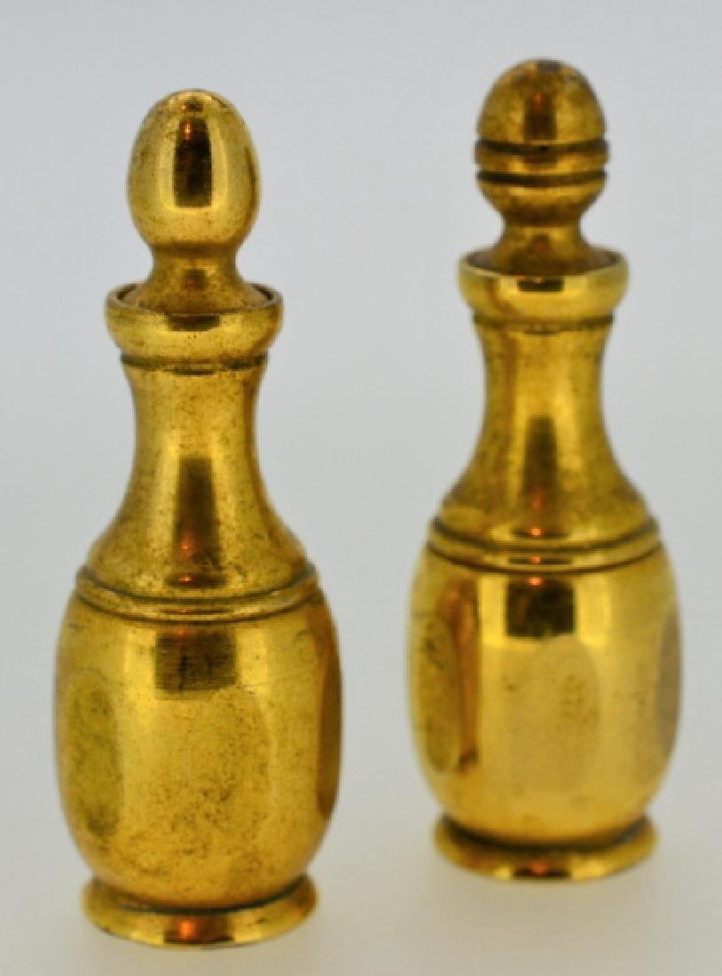 Pair of Vintage Gold-plated Brass Perfume Bottles