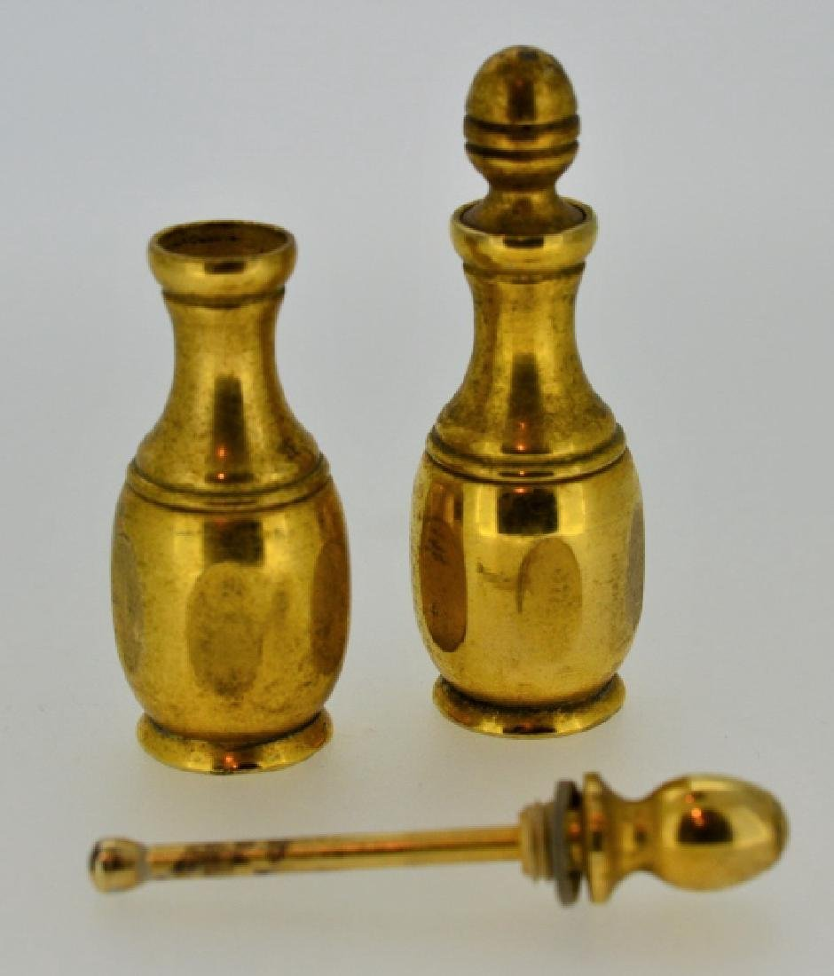 Pair of Vintage Gold-plated Brass Perfume Bottles - 2