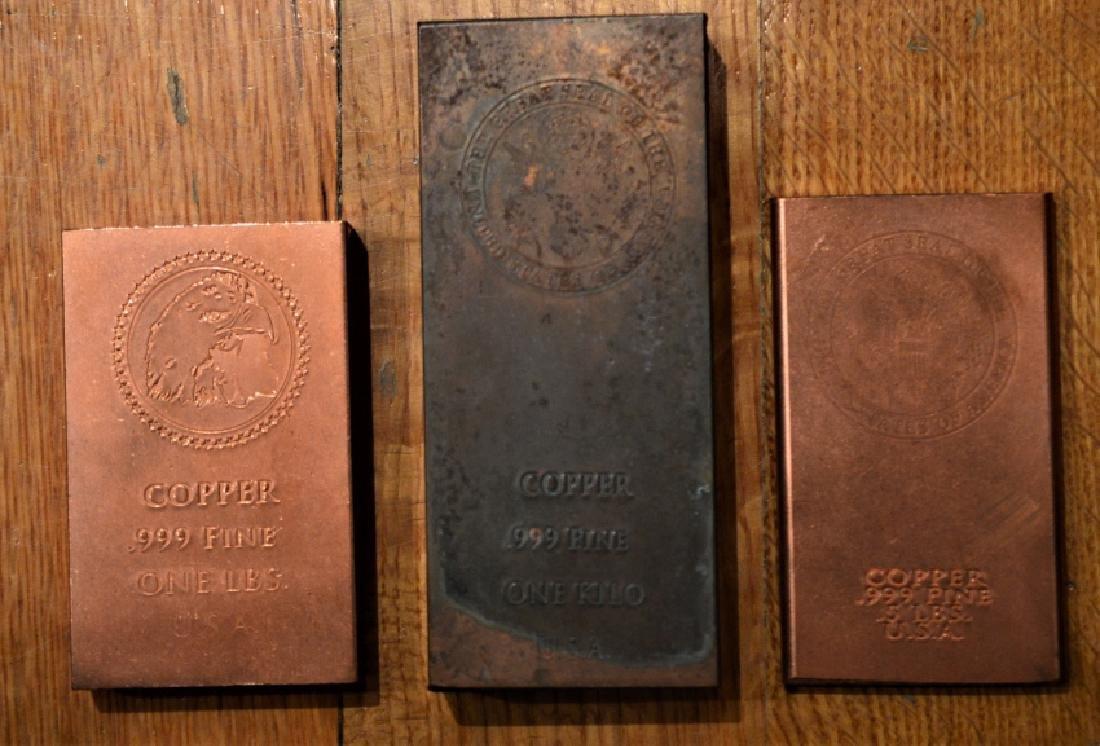 Three Solid USA Copper Bars