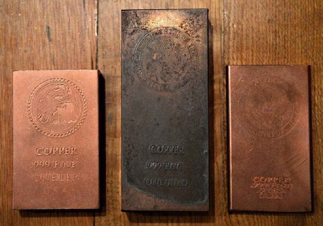 Three Solid USA Copper Bars - 2